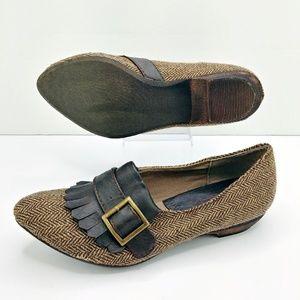 Big Buddha Robyn Brown Herringbone Tweed Loafers